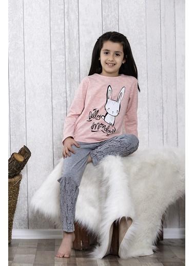 Lingabooms Tavşan Baskılı 2'li Çocuk Pijama Takım  Pembe
